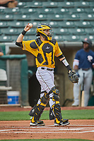 Anthony Bemboom (9) of the Salt Lake Bees during the game against the Tacoma Rainiers at Smith's Ballpark on May 16, 2021 in Salt Lake City, Utah. The Bees defeated the Rainiers 8-7. (Stephen Smith/Four Seam Images)
