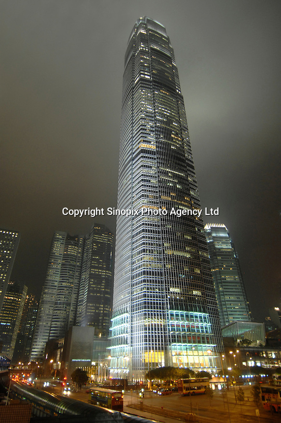 International Finance Centre 2 at night in Central, Hong Kong. IFC is a prominent landmark on Hong Kong Island, consists of two skyscrapers, the ifc mall, and the 55-storey Four Seasons Hotel Hong Kong..