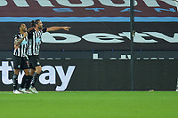 Callum Wilson of Newcastle United scores the first Goal and celebrates with Andy Carroll of Newcastle United during West Ham United vs Newcastle United, Premier League Football at The London Stadium on 12th September 2020