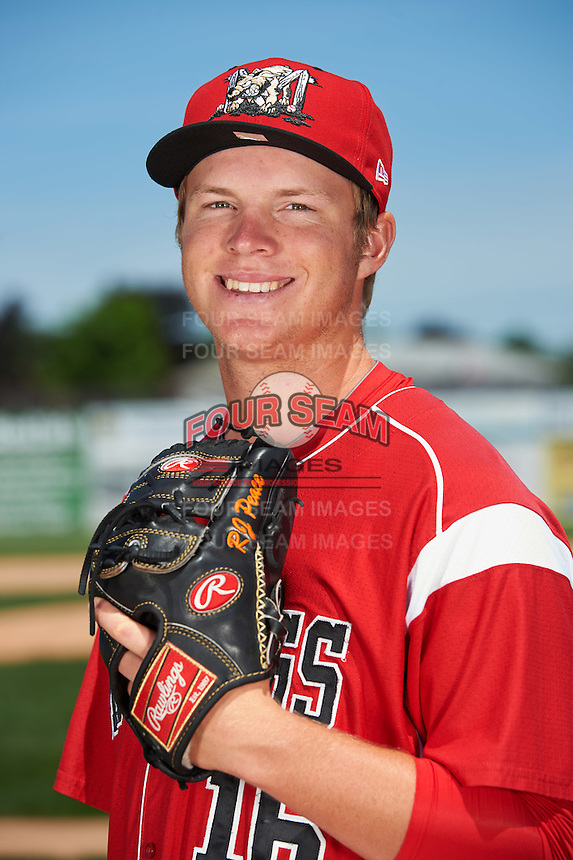 Batavia Muckdogs pitcher RJ Peace (16) poses for a photo before the teams first practice on June 15, 2016 at Dwyer Stadium in Batavia, New York.  (Mike Janes/Four Seam Images)