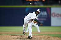 Kannapolis Cannon Ballers relief pitcher Homer Cruz (37) in action against the Charleston RiverDogs at Atrium Health Ballpark on June 29, 2021 in Kannapolis, North Carolina. (Brian Westerholt/Four Seam Images)