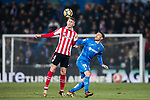 Aymeric Laporte of Athletic Club de Bilbao (L) fights for the ball with Jorge Molina Vidal of Getafe CF (R) during the La Liga 2017-18 match between Getafe CF and Athletic Club at Coliseum Alfonso Perez on 19 January 2018 in Madrid, Spain. Photo by Diego Gonzalez / Power Sport Images