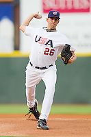 Starting pitcher Matt Barnes #26 of Team USA in action against Team Korea at Knights Stadium July 16, 2010, in Fort Mill, South Carolina.  Photo by Brian Westerholt / Four Seam Images