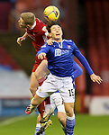 Aberdeen v St Johnstone…26.12.20   Pittodrie      SPFL<br />Danny McNamara and Sam Cosgrove<br />Picture by Graeme Hart.<br />Copyright Perthshire Picture Agency<br />Tel: 01738 623350  Mobile: 07990 594431