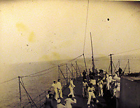 BNPS.co.uk (01202) 558833<br /> Pic: Charles Miller/BNPS<br /> <br /> There are pictures of the crew playing games of 'swing the monkey' on deck <br /> <br /> A fascinating photo album compiled by a British naval officer on tour in the Far East at the turn of the 20th century has come to light.<br /> <br /> Taprell Dorling served on the HMS Terrible in 1900 at the start of an over 30 year career at sea.<br /> <br /> The album, containing 74 photos, has emerged for sale with auctioneers Charles Miller, of London, with an estimate of £3,000.
