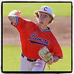 Starter Ty Olenchuk (36) of the Clemson Tigers delivers a pitch in Game 2 of the Orange-Purple intrasquad scrimmage series on Saturday, November 21, 2020, at Doug Kingsmore Stadium in Clemson, South Carolina. Orange won, 3-1. (Tom Priddy/Four Seam Images) #Clemson
