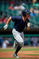 Mobile BayBears Bo Way (3) runs to first base during a Southern League game against the Montgomery Biscuits on May 2, 2019 at Riverwalk Stadium in Montgomery, Alabama.  Mobile defeated Montgomery 3-1.  (Mike Janes/Four Seam Images)