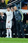 Real Madrid´s new coach Zinedine Zidane talks to James Rodriguez during 2015/16 La Liga match between Real Madrid and Deportivo de la Coruna at Santiago Bernabeu stadium in Madrid, Spain. January 09, 2015. (ALTERPHOTOS/Victor Blanco)