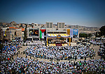Pope Francis celebrates mass with thousands of worshipers in Manger Square in the West Bank city of Bethlehem Sunday May 25 2014. Pope Francis is on a three day visit to the region. Photo by Eyal Warshavsky