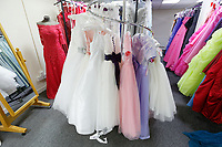 "COPY BY TOM BEDFORD<br /> Pictured: Some of the wedding dresses on display at the John Pye Auctions warehouse in Pyle, south Wales, UK.<br /> Re: A bride cried tears of joy after her missing wedding dress was found among a pile of 20,000 gowns in a warehouse.<br /> Meg Stamp, 27, paid £1,300 for the beautiful ivory lace dress but it  was seized by liquidators after a bridal company went bust.<br /> It was boxed up along with 20,000 others and due to be sold for a knock-down price at auction.<br /> But determined Meg banged on the auctioneer door saying: ""I want my dress back"".<br /> Staff at John Pye auctioneers in Port Talbot spent three hours sifting through boxes until they finally found Meg's dream dress.COPY BY TOM BEDFORD<br /> Pictured: at the John Pye Auctions warehouse in Pyle, south Wales, UK.<br /> Re: A bride cried tears of joy after her missing wedding dress was found among a pile of 20,000 gowns in a warehouse.<br /> Meg Stamp, 27, paid £1,300 for the beautiful ivory lace dress but it  was seized by liquidators after a bridal company went bust.<br /> It was boxed up along with 20,000 others and due to be sold for a knock-down price at auction.<br /> But determined Meg banged on the auctioneer door saying: ""I want my dress back"".<br /> Staff at John Pye auctioneers in Port Talbot spent three hours sifting through boxes until they finally found Meg's dream dress."