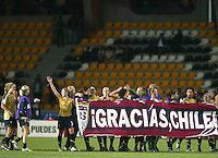 Coquimbo, Chile: American´s players celebrate the pass to finals of the Fifa U-20 Women´s World Cup after defeat Germany´s team at Francisco Sanchez Rumoroso stadium in Coquimbo, located at 459 kilometers north of Santiago, on December 4 th, 2008. By Grosnia / ISIphotos.com