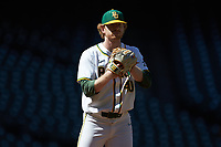 Baylor Bears starting pitcher Paul Dickens (40) checks the runner on first base during the game against the Missouri Tigers in game one of the 2020 Shriners Hospitals for Children College Classic at Minute Maid Park on February 28, 2020 in Houston, Texas. The Bears defeated the Tigers 4-2. (Brian Westerholt/Four Seam Images)