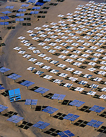 aerial view above Solar Two electrical energy generation project mirrored heliostats Daggett California