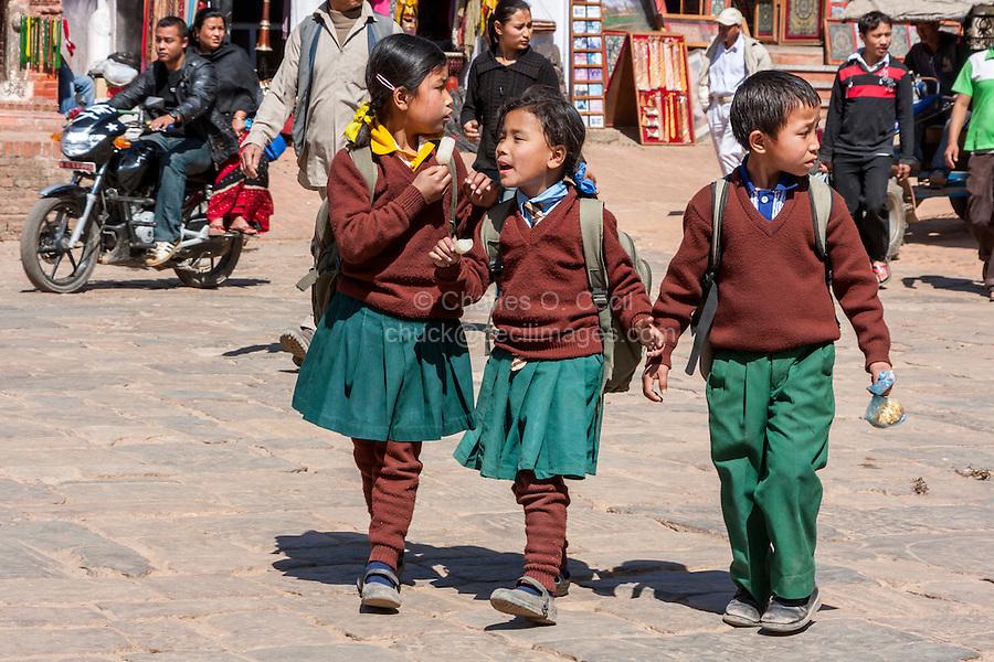 Bhaktapur, Nepal.  Young Nepali Schoolchildren in School Uniforms.