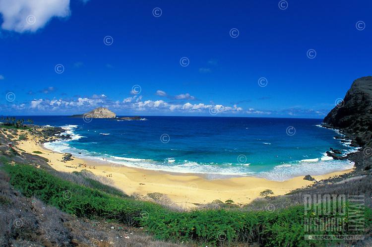 Beautiful Makapuu  Beach Park. A popular tourist beach. Located along the eastern shore of Oahu near Sea life Park and the town of Waimanalo.