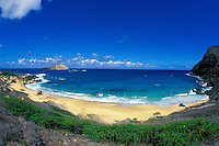Beautiful Makapuu  Beach Park. A popular tourist beach. Located along the eastern shore of Oahu near Sea life Park and the town of Waimanalo.