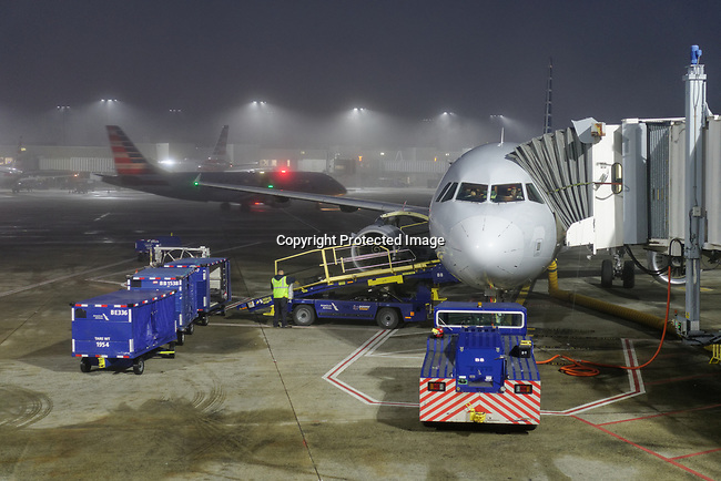 American Airlines aircraft at Charlotte, NC in the fog.