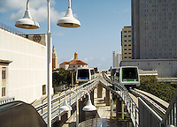 On the loop of the Metromover, Miami, Florida's new, low fare, downtown transit system. Mass transit, monorail, public transportation, railroads, cityscape, skyline. Miami Florida, downtown Miami.