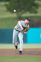 Hickory Crawdads starting pitcher A.J. Alexy (9) in action against the Kannapolis Intimidators at Kannapolis Intimidators Stadium on May 19, 2018 in Kannapolis, North Carolina.  (Brian Westerholt/Four Seam Images)