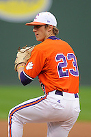 Pitcher Daniel Gossett (23) of the Clemson Tigers in a fall scrimmage against College Lafleche from Canada on October 17, 2013, at Fluor Field at the West End in Greenville, South Carolina. (Tom Priddy/Four Seam Images)
