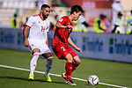 Do Duy Manh of Vietnam (R) fights for the ball with Seyed Saman Ghoddoos of Iran (L) during the AFC Asian Cup UAE 2019 Group D match between Vietnam (VIE) and I.R. Iran (IRN) at Al Nahyan Stadium on 12 January 2019 in Abu Dhabi, United Arab Emirates. Photo by Marcio Rodrigo Machado / Power Sport Images