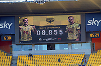 The crowd attendance of 8855 is announced on the big screen, alongside the new Sky livery during the A-League football match between Wellington Phoenix and Sydney FC at Sky Stadium in Wellington, New Zealand on Saturday, 21 December 2019. Photo: Dave Lintott / lintottphoto.co.nz