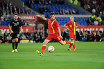 14th August 2013 - Cardiff - UK : Wales v Republic of Ireland - Vauxhall International Friendly at Cardiff City Stadium : Ben Davies of Wales has a shot on goal.