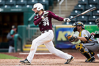 Spencer Johnson #34 of the Missouri State Bears follows through his swing after making contact on a pitch during a game against the Wichita State Shockers at Hammons Field on May 5, 2013 in Springfield, Missouri. (David Welker/Four Seam Images)