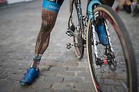 Kevin Pauwels' (BEL/Marlux-NapoleonGames) post-race legs<br /> <br /> Brico-cross Geraardsbergen 2016