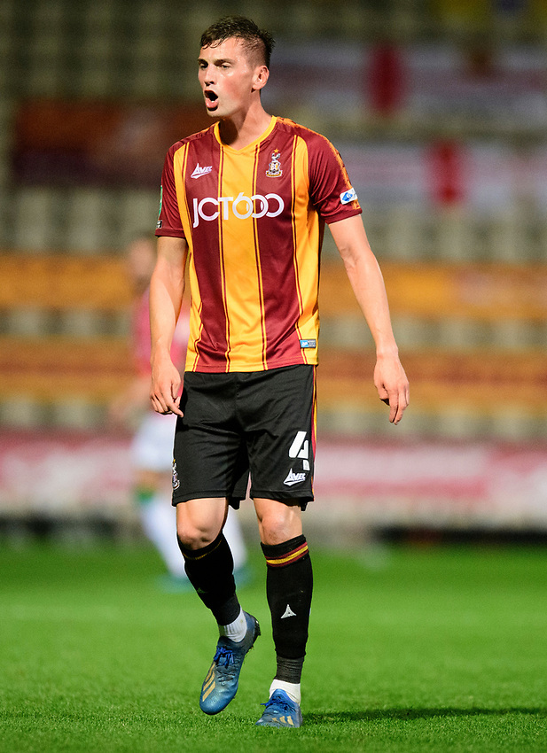 Bradford City's Paudie O'Connor<br /> <br /> Photographer Chris Vaughan/CameraSport<br /> <br /> Carabao Cup Second Round Northern Section - Bradford City v Lincoln City - Tuesday 15th September 2020 - Valley Parade - Bradford<br />  <br /> World Copyright © 2020 CameraSport. All rights reserved. 43 Linden Ave. Countesthorpe. Leicester. England. LE8 5PG - Tel: +44 (0) 116 277 4147 - admin@camerasport.com - www.camerasport.com