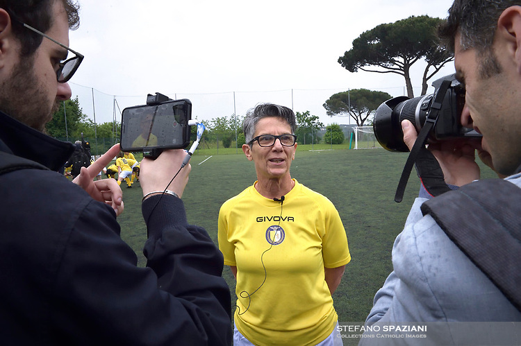 """The women's soccer team of Vatican City. 26 may 2019<br /> Francesca Stoppa, soccer player and resuscitator of the Bambin Gesù.<br /> <br /> Women's football arrives at the Vatican, with what can be considered in all respects the women's national football team of the Holy See. The Vatican representative, announced in recent weeks, made its debut yesterday afternoon, Sunday 26 May, in the sports center of the Knights of Columbus, against the Roma women's team of Roma.<br /> The girls that make up the team are all Vatican employees or wife and daughters of staff of the Holy See, plus some players from the Bambino Gesù hospital team who joined for this 11-a-side football match. «We are born in an amateur way - he tells the attacker and captain of the Vatican Eugene Tcheugoue - and playing together represents for us above all a way to get to know and be together ».<br /> <br /> The young soccer player, a graduate in theology and a native of Cameroon, has no doubts about the great important symbolism of the team: """"Many of us are mothers even before they are employees or at least daughters and wives, so in the first place for us is the metaphor of football as a gym of life. Sport in general - says Eugene Tcheugoue - conveys a fundamental message, both for the new generations and in particular for women """"."""