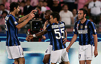 Calcio, Finale di Coppa Italia: Inter-Palermo. Roma, stadio Olimpico, 29 maggio 2011..Football, Italy Cup final match: FC Inter vs Palermo. Rome, Olympic stadium, 29 may 2011..Inter Milan forward Samuel Eto'o, of Cameroon, second from left, celebrates with teammates after scoring..UPDATE IMAGES PRESS/Riccardo De Luca