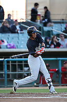 Victor Reyes (5) of the Visalia Rawhide bats against the Lancaster JetHawks at The Hanger on May 7, 2016 in Lancaster, California. Lancaster defeated Visalia, 19-5. (Larry Goren/Four Seam Images)