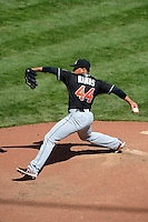 Miami Marlins pitcher A.J. Ramos #44 during a game against the Cincinnati Reds at Great American Ball Park on April 20, 2013 in Cincinnati, Ohio.  Cincinnati defeated Miami 3-2 in 13 innings.  (Mike Janes/Four Seam Images)