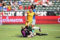 Carson, CA - Thursday August 03, 2017: Dani Neuhaus, Lisa De Vanna, Bruna Benites during a 2017 Tournament of Nations match between the women's national teams of Australia (AUS) and Brazil (BRA) at the StubHub Center.