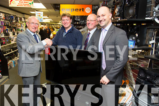 """Lesley Benner (Racecourse Road, Tralee) Winner of the Tralee Rugby Club Grand Draw of a 50"""" Panasonic HD TV presented by Jeremy Walsh (Chairman Tralee Rugby Club) with Hugh and Brendan Culloty  at Hugh Cullotys on Monday"""