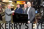 "Lesley Benner (Racecourse Road, Tralee) Winner of the Tralee Rugby Club Grand Draw of a 50"" Panasonic HD TV presented by Jeremy Walsh (Chairman Tralee Rugby Club) with Hugh and Brendan Culloty  at Hugh Cullotys on Monday"