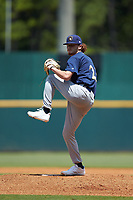 Starting pitcher Caleb Logerwell (23) of Homeschool in McDonough, GA playing for the Milwaukee Brewers scout team during the East Coast Pro Showcase at the Hoover Met Complex on August 3, 2020 in Hoover, AL. (Brian Westerholt/Four Seam Images)