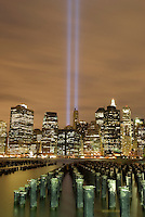 AVAILABLE FROM JEFF AS A FINE ART PRINT.<br /> <br /> AVAILABLE FROM PLAINPICTURE FOR COMMERCIAL AND EDITORIAL LICENSING.  Please go to www.plainpicture.com and search for image # p5690230.<br /> <br /> Tribute in Light (World Trade Center Memorial Light Installation) over Lower Manhattan Skyline at Night, New York City, New York State, USA