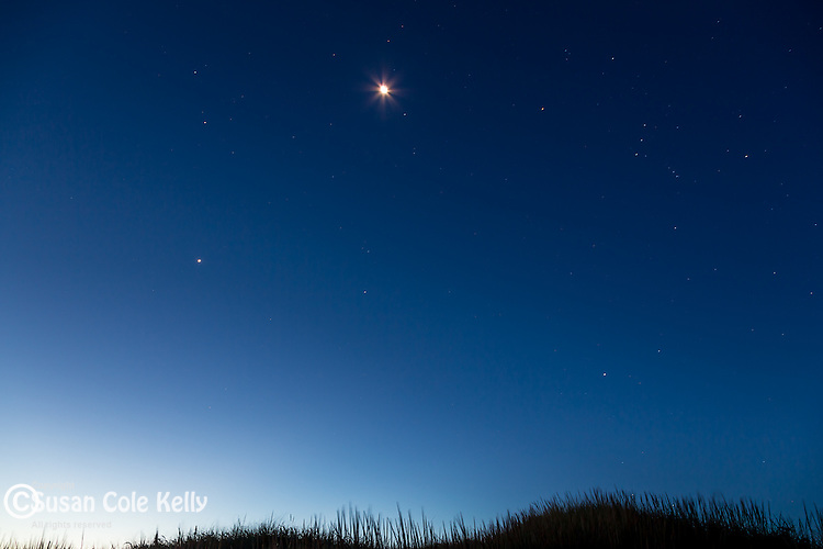 Moon and morning stars at Katama Beach, Edgartown, Marthas Vineyard, Massachusetts, USA