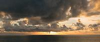 Sunset with cloudscape on Taranaki coast, Taranaki Region, West Coast, North Island, New Zealand, NZ