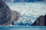 Alaska, Tracy Arm, Luxury Cruise Ships dwarfed at the blue-ice face of the Sawyer Glacier, Southeast Alaska, USA, North America,.