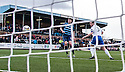 Forfar's Chris Templeman scores their first goal.