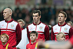 FIFA 2014 World Cup Qualifier - Wales v Croatia - Swansea - 26th March 2013 : Gareth Bale of Wales (middle) alongside James Collins and Chris Gunter.