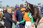 ARCADIA, CA  JUNE 2:  Jerry Hollendorfer congratulates  Mike Smith after the latter rides #6 Unique Bella to win the Beholder Mile (Grade l) on June 2, 2018 at Santa Anita Park in Arcadia, CA. (Photo by Casey Phillips/Eclipse Sportswire/Getty Images)