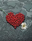 Interlitho, VALENTINE, photos, heart of strawberries(KL1660,#V#)