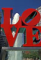 AJ3052, Philadelphia, love, Pennsylvania, The red LOVE statue and fountain in Kennedy Plaza in downtown Philadelphia in the state of Pennsylvania.