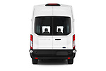 Straight rear view of 2019 Ford Transit-Van - 4 Door Cargo Van Rear View  stock images