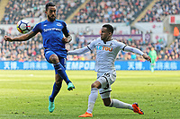 (L-R) Theo Walcott of Everton challenges  Martin Olsson of Swansea City during the Premier League match between Swansea City and Everton at The Liberty Stadium, Swansea, Wales, UK. Saturday 14 April 2018