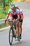TORONTO, ON, AUGUST 8, 2015. Robbi Weldon & Audrey Lemieux in action during the Cycling Road Race - Mixed B Classification at the ParaPan Am Games.<br /> Photo: Dan Galbraith/Canadian Paralympic Committee